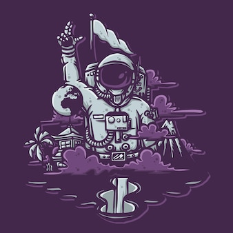 Hand drawn illustration of astronaut for t shirt