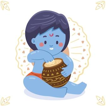 Hand drawn illustration of baby krishna eating butter
