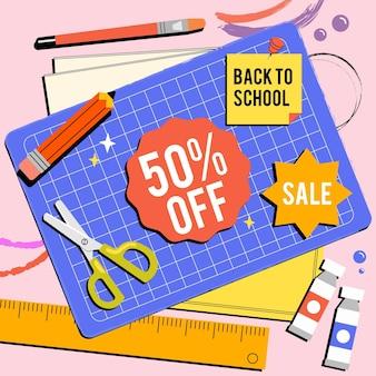 Illustrazione disegnata a mano per tornare alle vendite della scuola