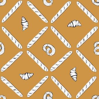 Hand drawn illustration. bakery vector seamless wallpaper