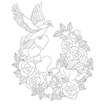 Hand drawn illustration of bird and cupid