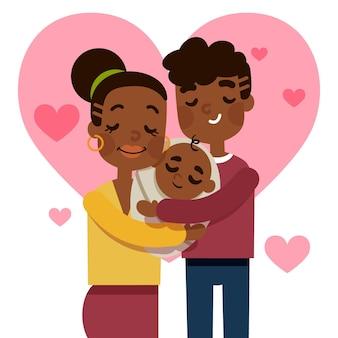 赤ちゃんと手描きイラスト黒家族
