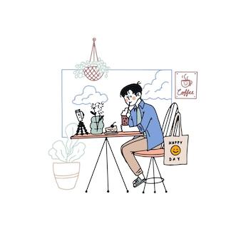 Hand drawn illustration blogger