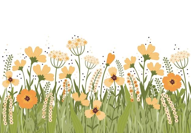 夏の牧草地に咲く手描きイラスト。白い背景に花のバナー。畑にはたくさんの黄色い花、つぼみ、葉、茎があります。さまざまな野草。スカンジナビアスタイル