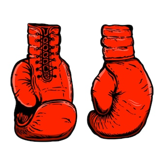 Hand drawn illustration of boxing gloves.  element for poster, card, t shirt, emblem, sign.  illustration