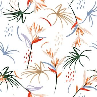 Hand drawn illustration  brush seamless pattern.