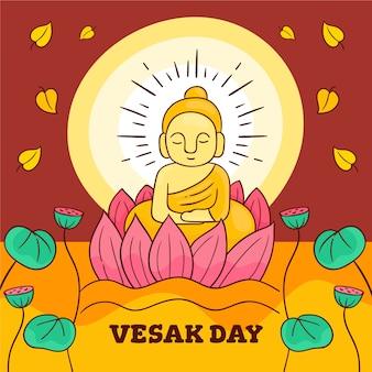 Illustrazione disegnata a mano di buddha per vesak