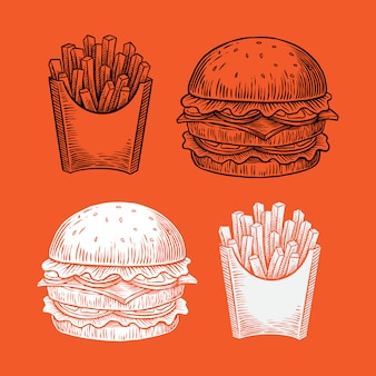 Hand drawn illustration of burger & fries