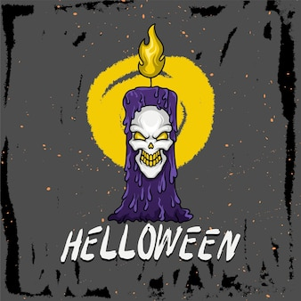 Hand drawn illustration of a candle with a skull for helloween