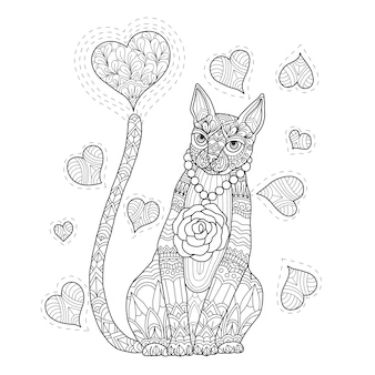 Hand drawn illustration of cat and heart in zentangle style