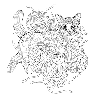 Hand drawn illustration of cat and yarn.