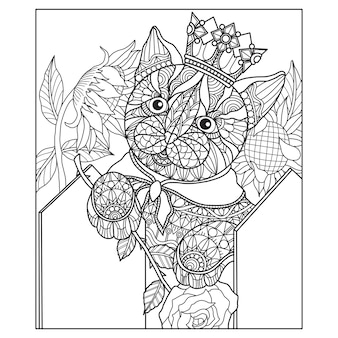 Hand drawn illustration of cat in zentangle style