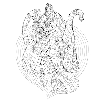 Hand drawn illustration of cats lover