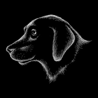 Hand drawn illustration in chalk style of dog