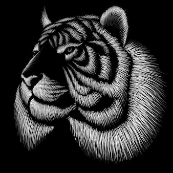 Hand drawn illustration in chalk style of tiger