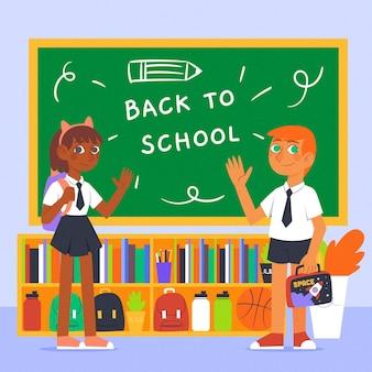 Illustrazione disegnata a mano dei bambini di nuovo a scuola