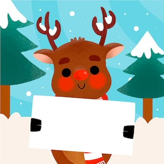 Hand drawn illustration of christmas character holding blank banner