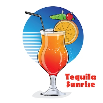 Hand drawn illustration of cocktail. tequila sunrise.