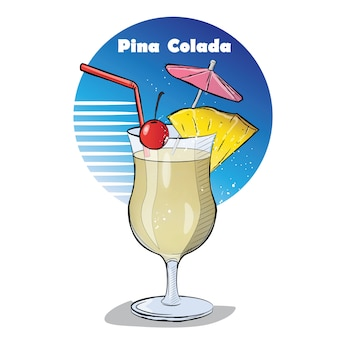Hand drawn illustration of cocktail.
