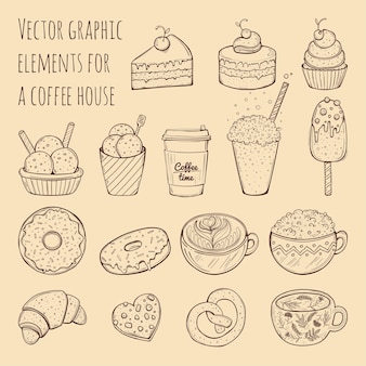 Hand drawn illustration - collection of goodies, sweets, cakes and pastries.