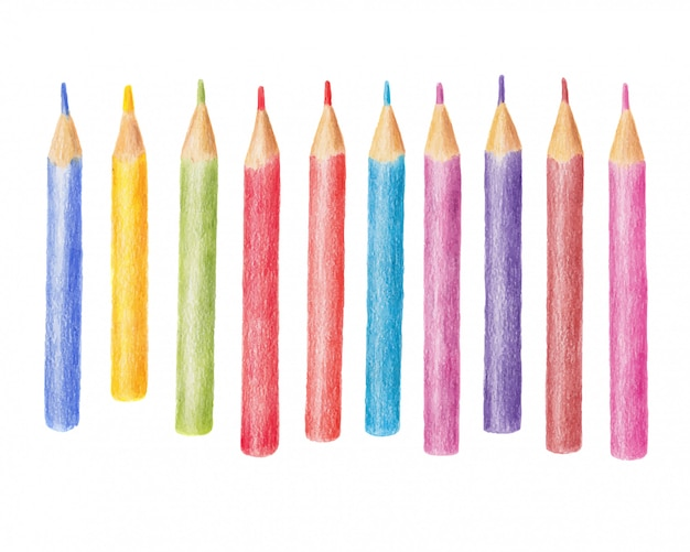 Hand drawn illustration of colored pencil, crayon set isolated on white background