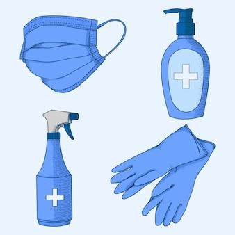 Hand drawn illustration  coronavirus prevention equipment