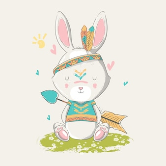 Hand drawn illustration of a cute baby bunny boho with feathers.