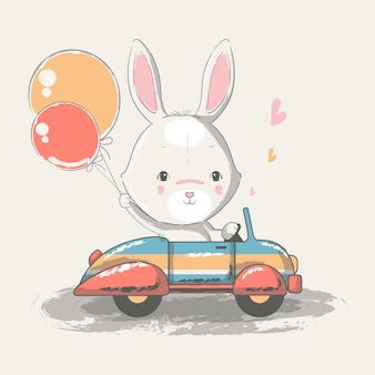 Hand drawn illustration of a cute baby bunny riding car.