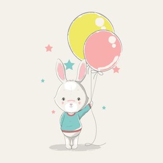 Hand drawn illustration of a cute baby bunny with balloons.