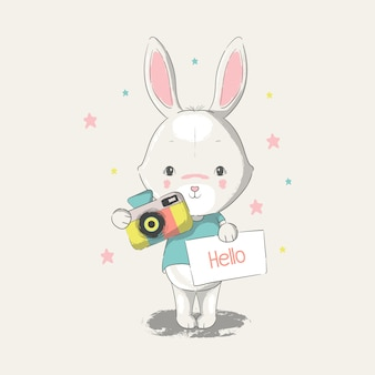 Hand drawn illustration of a cute baby bunny with camera.