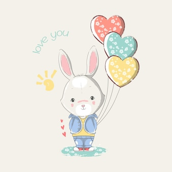 Hand drawn illustration of a cute baby bunny with heart balloons.
