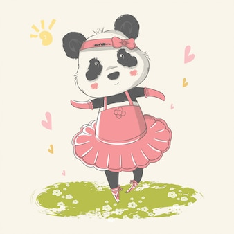 Hand drawn illustration of a cute baby panda with ballerina custom.
