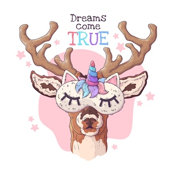 Hand drawn illustration of the cute deer in a night mask .