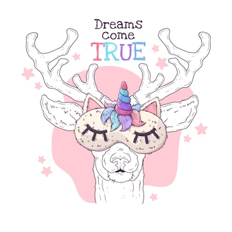 Hand drawn illustration of the cute deer in a night mask. .