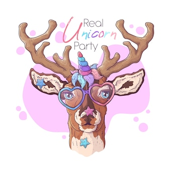 Hand drawn illustration of the cute deer with a magic unicorn horn .