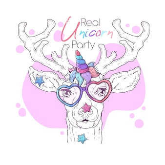 Hand drawn illustration of the cute deer with a magic unicorn horn
