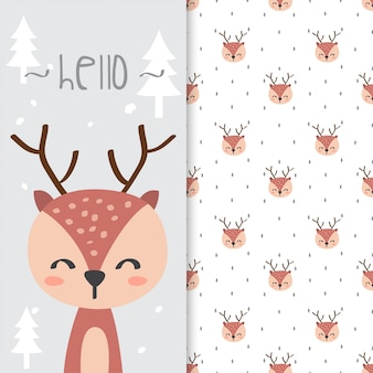 Hand drawn illustration of cute deer with seamless pattern