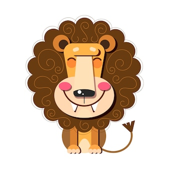 Hand drawn illustration of a cute funny lion . flat design. concept for children print.