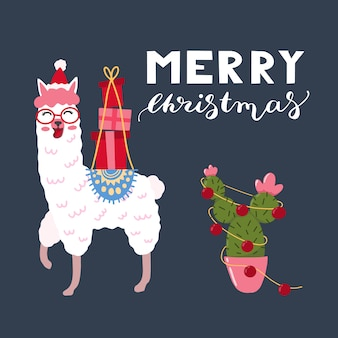 Hand drawn  illustration of a cute funny llama with cactus gifts and text merry christmas.
