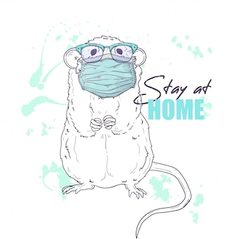 Hand drawn illustration of the cute rat in a medical mask