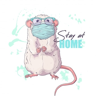 Hand drawn illustration of the cute rat in a medical mask .