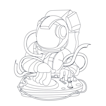 Hand drawn illustration of dance astronaut