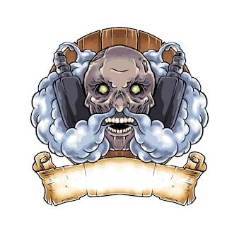 Hand drawn illustration dark zombie vape