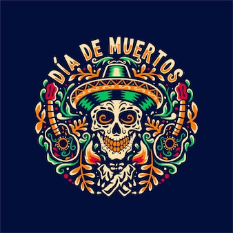 Hand drawn illustration of dia de muertos,isolated on dark background