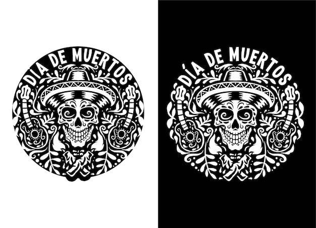 Hand drawn illustration of dia de muertos, isolated on dark and bright background