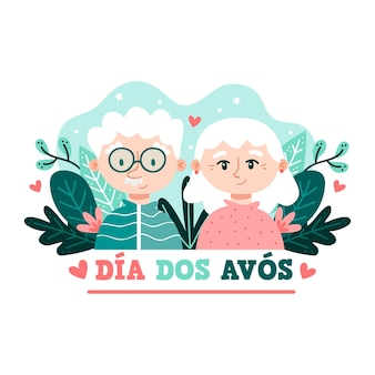 Hand drawn illustration dia dos avós with grandparents