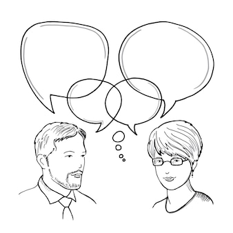 Hand drawn illustration of dialog between man and woman