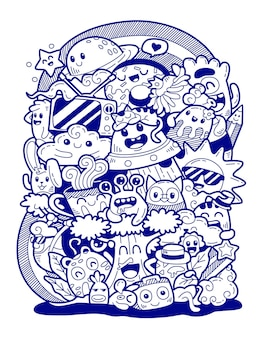 Hand drawn illustration of doodle art