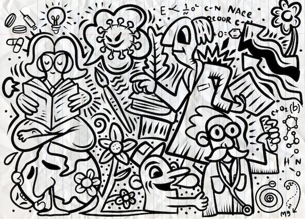 Hand drawn illustration of doodle of corona virus