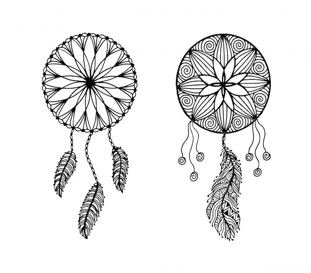 Hand drawn illustration of a dreamcatcher. - vector